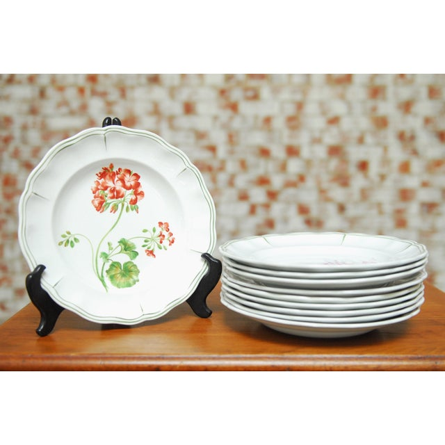 """Set of 66 French Luneville Hand-Painted Floral Dining Plates """"Rovina Epinal"""" - Image 2 of 11"""