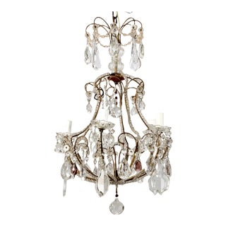 French Five-Light Brass Beaded Cage Shape Chandelier