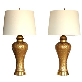 1940's Hollywood Regency Gold Glass Lamps - a Pair