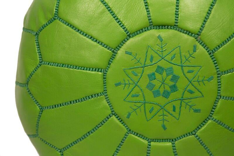Embroidered Leather Pouf In Lime Green Stuffed Chairish