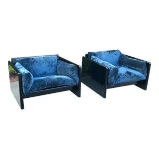 Vintage 1970 Gavina Italian Velvet Chairs - A Pair