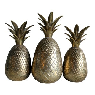 Vintage Brass Pineapple Containers - Set of 3