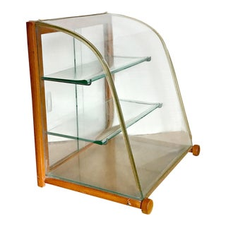 Vintage Mercantile Curved Glass Perfume Display Cabinet