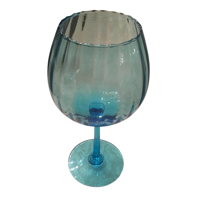 Turquoise Glass Candle Holder - Image 1 of 7