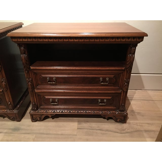 Image of Giemme 15th Century Carved Walnut Nightstands - A Pair