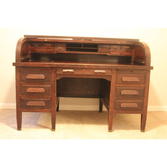 mahogany american rishel antique roll top desk chairish 87975