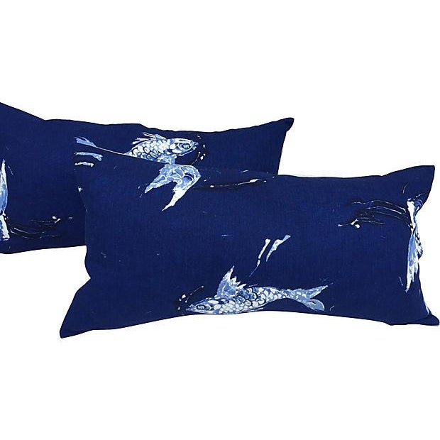 Image of Ralph Lauren Indigo Koi Fish Pillows - A Pair