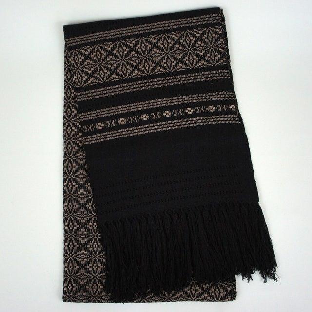Oaxaca Handwoven Black Copper Tassel Table Runner - Image 2 of 3