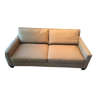 Modern Two Seat Beige Upholstered Loveseat Sofa