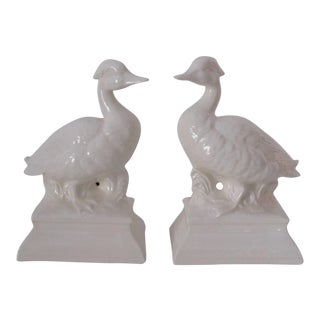 White Porcelain Duck Bookends - A Pair