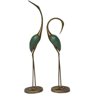 Tall Golden Cranes Sculptures - A Pair