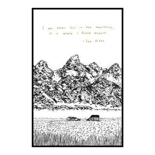 """Cabin in the Tetons"" Original Framed Hand Drawn Illustration"