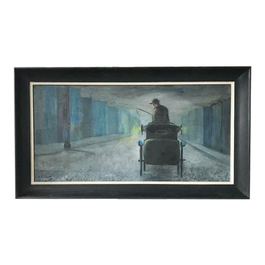 1962 Evening City Scape in a Carriage Oil on Canvas Painting by D Schwartz - Image 1 of 7