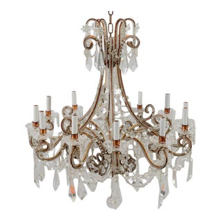 Italian Twelve Light Crystal Chandelier With Large Drops and Lots of Beading