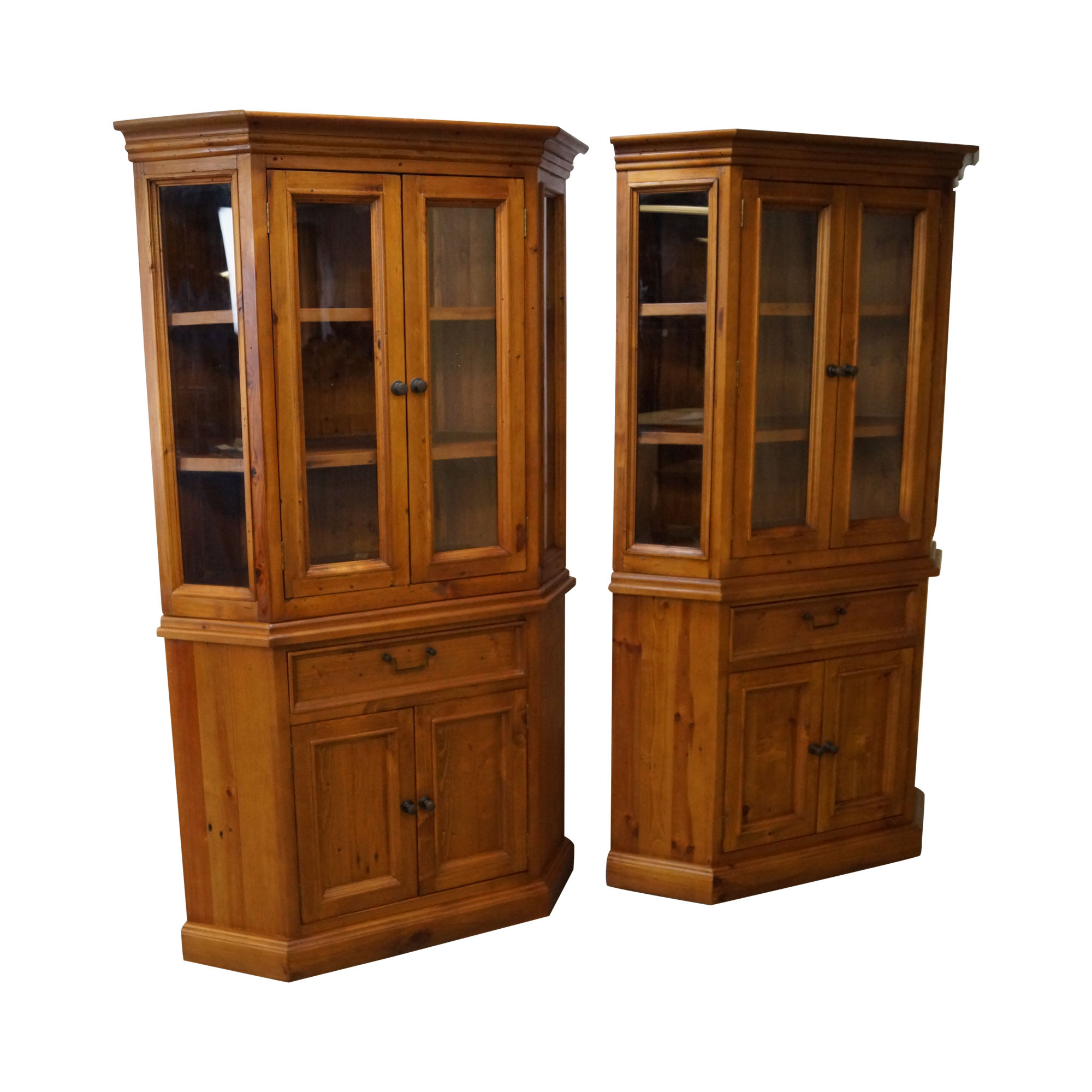 Lovely French Country Style Pine Corner Cabinets   Pair