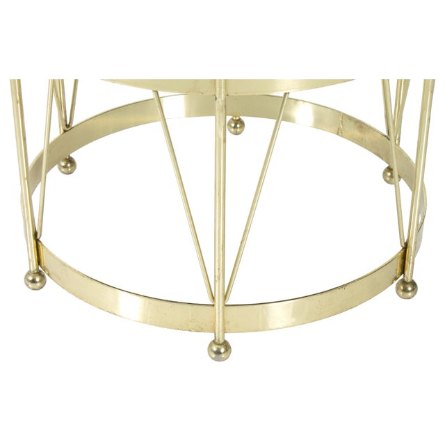 Mid-Century Modern Round Polished Brass Drum Stool - Image 3 of 4