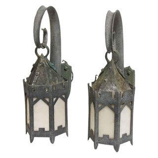 Hand Hammered Exterior Sconces - A Pair