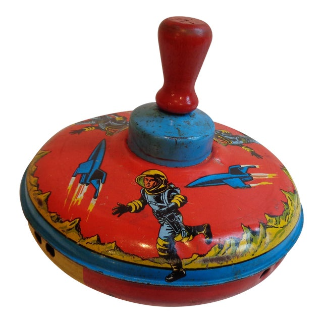 Metal & Wood Spinning Top, 1960s Space Theme - Image 1 of 5