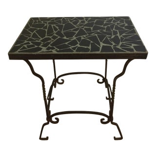 Black Cracked Mosaic Tile Top Iron Side Table
