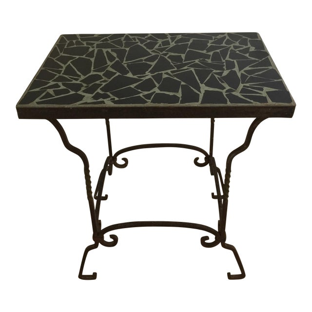 Black Cracked Mosaic Tile Top Iron Side Table - Image 1 of 8