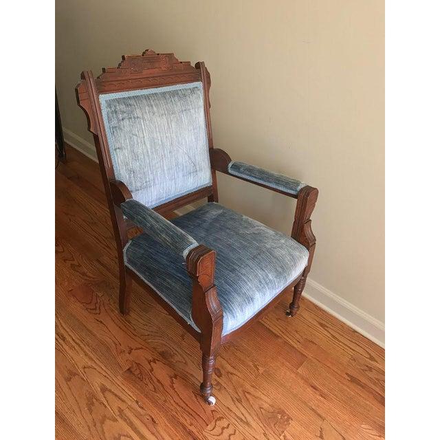 Blue Velvet Eastlake Chair - Image 3 of 9