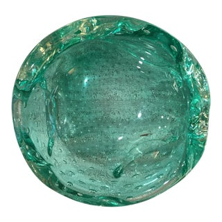 Turquoise Murano Glass Snack Bowl