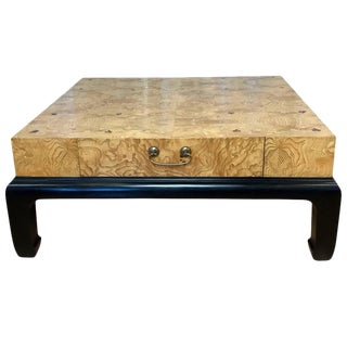 Burl Veneer Wood Coffee Table With Drawers Attributed to Henredon
