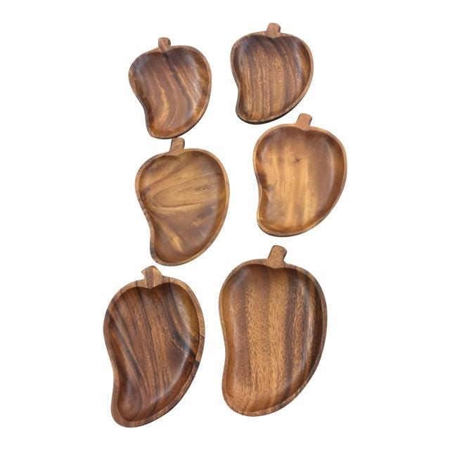 Mid-Century Monkey Pod Leaf Bowls- Set of 6 - Image 1 of 6