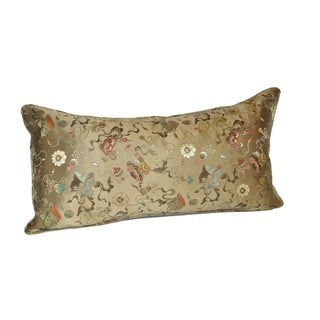 Bronze Ribbon Silk Brocade Bolster Pillow - 12x24