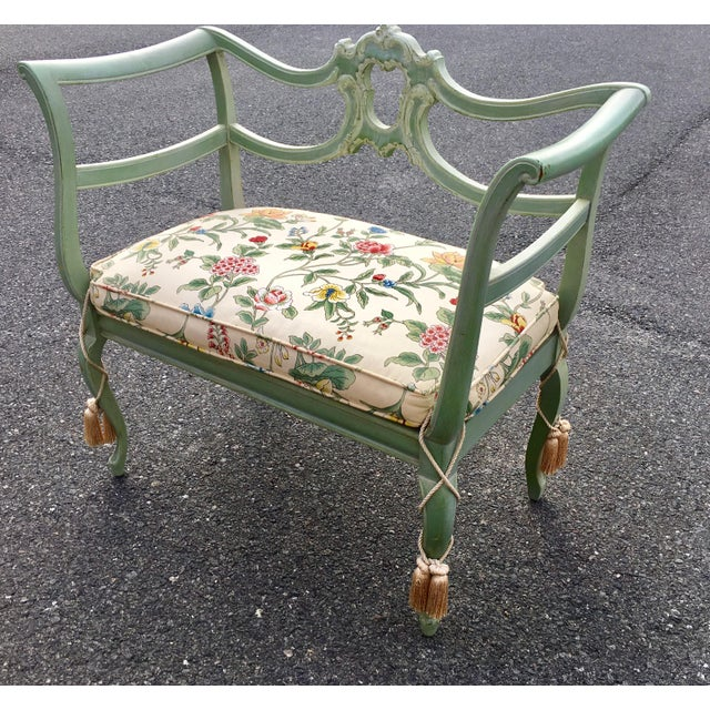 Antique Green French Provincial Carved Wood Small Bench Settee - Image 2 of 11