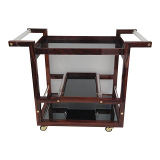 Art Deco Style Solid Rosewood Rolling Bar Cart