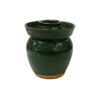 Traditional Chinese Green Glazed Ceramic Container