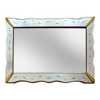 1940's Floral Cut Scalloped Mirror