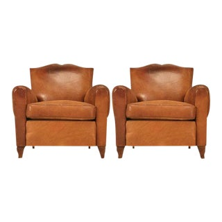 1930's French Moustache Back Club Chairs - A Pair