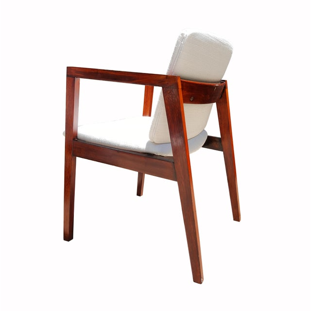Mid-Century White & Red Wood Office Armchair - Image 4 of 6