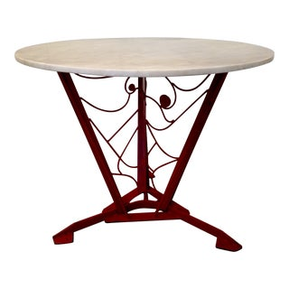 Vintage Hand-Crafted Red Metal Art Table
