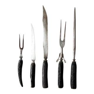 Vintage Black Horn Carving Set