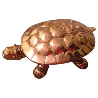 Brass Turtle Tortoise Trinket Box