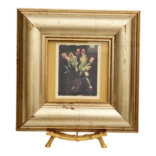 Framed Tulip Art on Faux Bamboo Brass Easel