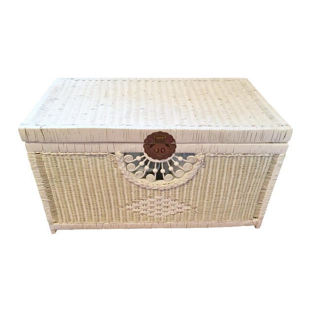 Vintage White Wicker Trunk With Brass Hardware - Image 1 of 5
