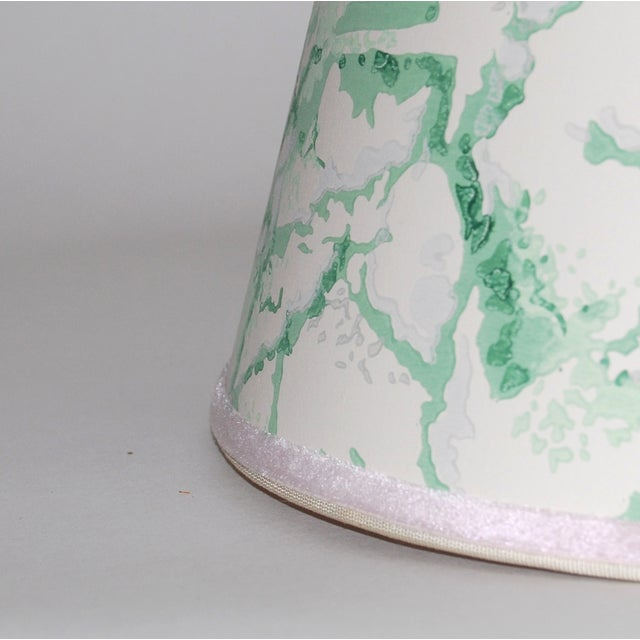 Green & White Marble Vintage Wallpaper Lampshade - Image 4 of 4