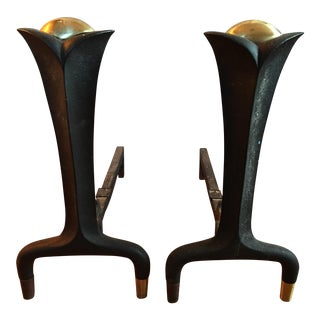 Donald Deskey Art Deco Andirons - A Pair