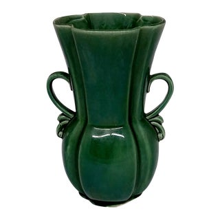RB USA Rare Mid-Century Two-Handled Green Vase