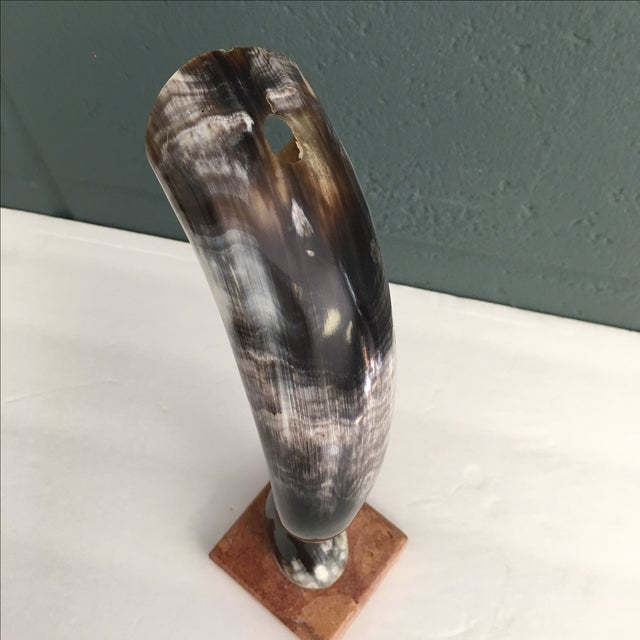 Vintage Cow Horn on Marble Pedestal - Image 6 of 6