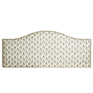 Neutral Patterned Upholstered Headboard With Nailheads