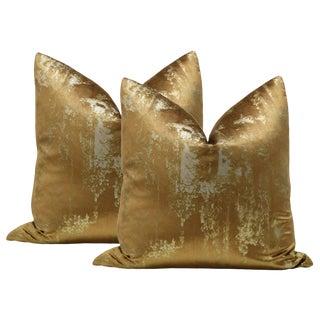 "22"" Gilded Metallic Bronze Velvet Pillows - a Pair"