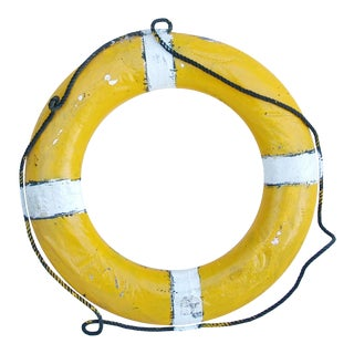 Vintage Nautical Yellow & White Life Preserver