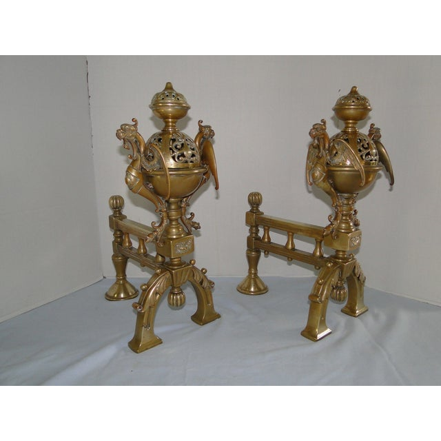 Image of Antique French Brass Filigree Fire Dogs - A Pair