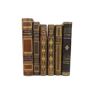 French Art Deco Leather-Bound Books - Set of 6