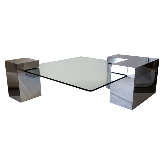Image of Paul Evans Style Chrome & Glass Coffee Table